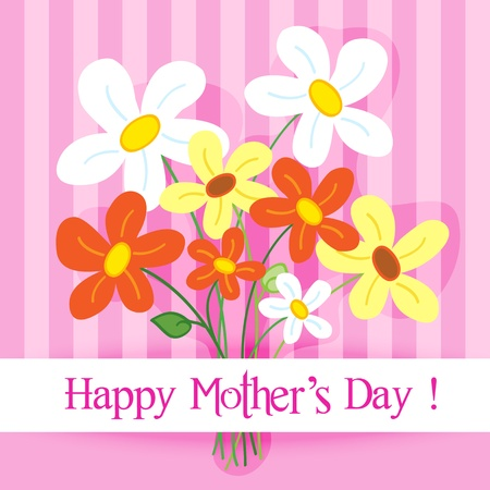 Celebration card: cute and fun hand drawn daisy flowers with shadow over a pink stripes background with Happy mothers day banner. Illustration