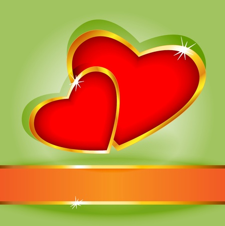 illustion: Cute and fun heart shapes surrounded by gold over green background with orange and gold banner for your text, perfect for a love card. Illustration