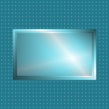 Futuristic looking gree blue silver metallic sign over grey polka dot background, perfect for advertisement. Vector