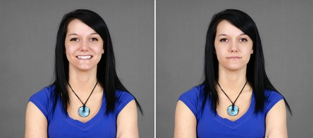 Fun pair of portraits of a pretty young brunette woman with two facial expressions: smiling for happy and neutral or indifferent (large format). 版權商用圖片