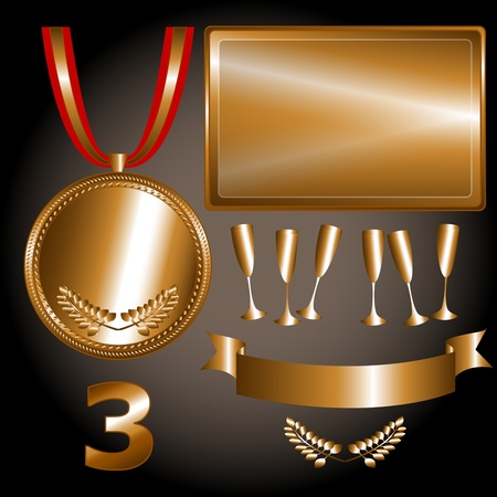 Great sports and games related objects with third position bronze medal, ribbon and position number, perfect for the sports competitions Illustration