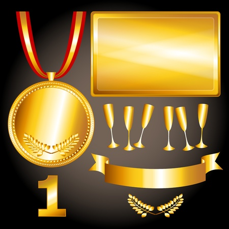 Great sports and games related objects withfirst position gold medal, ribbon and position number, perfect for the olympics Vector