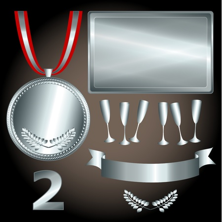 medallion: Great sports and games related objects with second position silver medal, ribbon and position number, perfect for the sports competitions