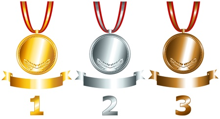 Great sports and games related objects with gold, silver and bronze medals, ribbons and position numbers, perfect for the sports competitions Illustration