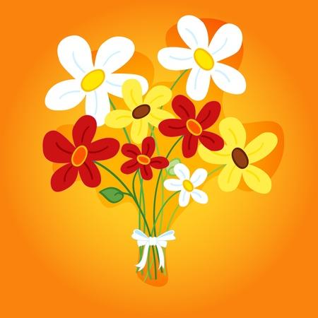 손의 귀엽고 재미있는 꽃다발 카드에 대 한 완벽 하단, 복사 공간 그라데이션 오렌지 배경 위에 그림자와 데이지 꽃을 그려. 일러스트