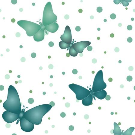 水玉の背景に青に緑の蝶の色合いの蝶の飛翔のシームレスなパターン。