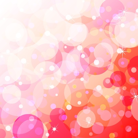 Fun, young and happy background with overlayed bubbles of varying colors and opacity mainly in shades of orange, pink and red with starburst. Illustration