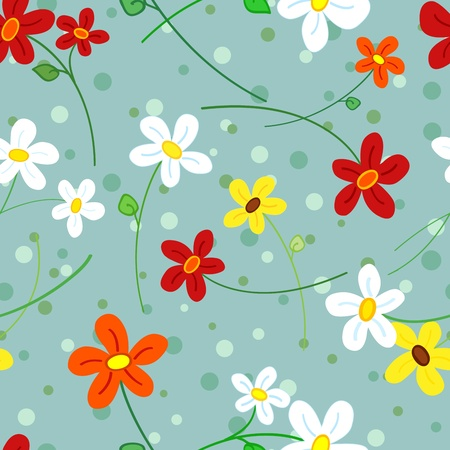 Cute, fun and fresh seamless pattern of simple hand drawn daisy flowers over blue grey polka dots background 免版税图像 - 12956029