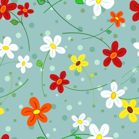 Mignon, fun et frais, seamless, de la main simple tiré fleurs de marguerite sur fond bleu gris à pois