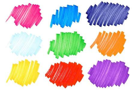 Detailed macro of very bright and colorful felt tip ink markers scribbles or ink blots with paper fibers visible, very large format.
