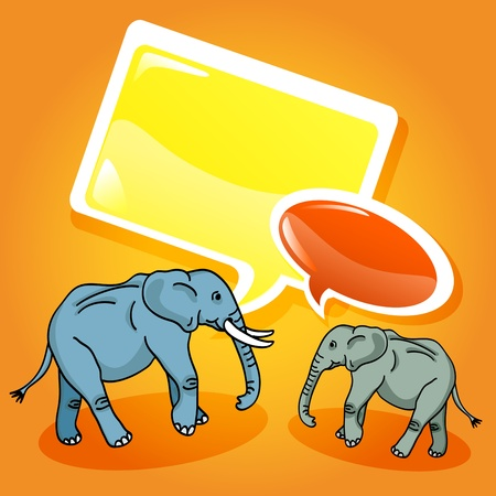 Funny and cute elephant cartoon characters talking with glossy speech bubbles. Vector