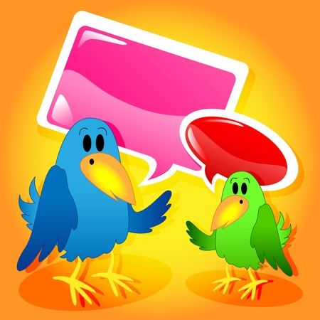 twit: Funny and cute bird cartoon characters talking with glossy speech bubbles. Illustration