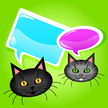 Funny and cute cat cartoon characters talking with glossy speech bubbles. Vector