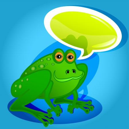 Funny and cute frog cartoon characters talking with glossy speech bubble. Vector