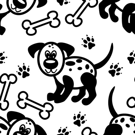 Seamless pattern of  cute and fun little black and white cartoon dog with bones and paw prints. Vector