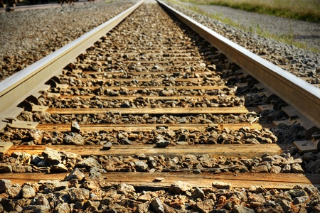 Dramatic hdr rendering of train tracks with diminishing perspective, great background. photo
