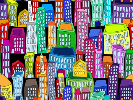 high rise: Seamless pattern of colorful crooked buildings on black background, fun cityscape wallpaper or background.