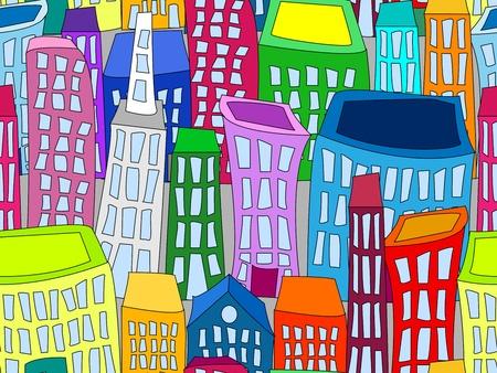 シームレスなパターン、ライトグレーの背景にカラフルな曲がった漫画建物の都市景観の壁紙や背景を楽しい。  イラスト・ベクター素材
