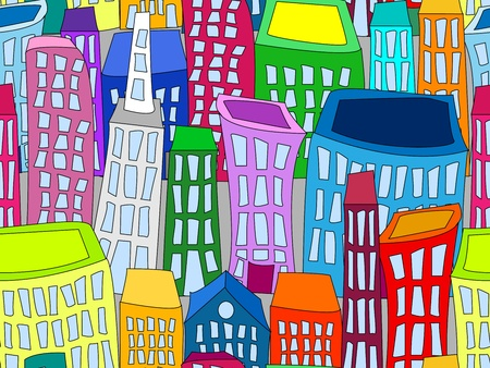 Seamless pattern of colorful crooked cartoon buildings on light grey background, fun cityscape wallpaper or background.