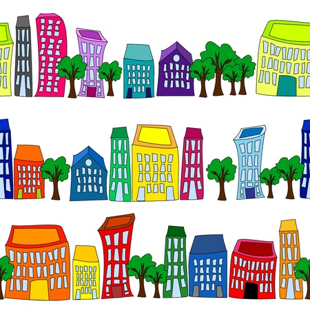 city building: Seamless pattern of colorful crooked cartoon buildings on white background, fun cityscape borders or wallpaper.