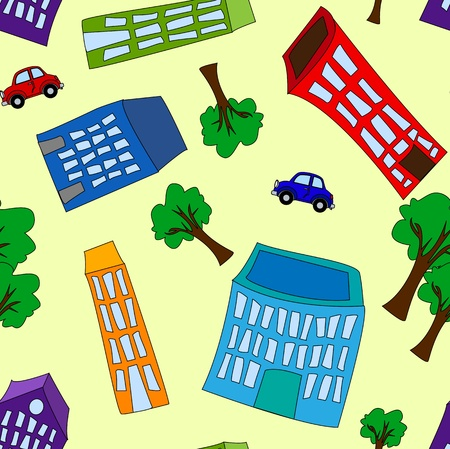 crooked: Seamless pattern of colorful crooked cartoon buildings, with trees and cars on light yellow background, fun cityscape wallpaper or background. Illustration