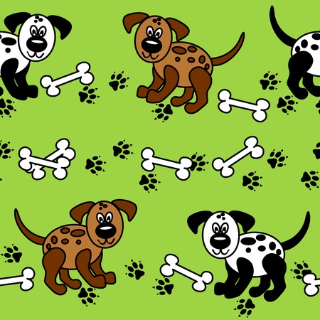 Cute and fun spotted cartoon dogs with paw prints and bones that can be used as borders or full wallpaper pattern, perfect for pet related articles.