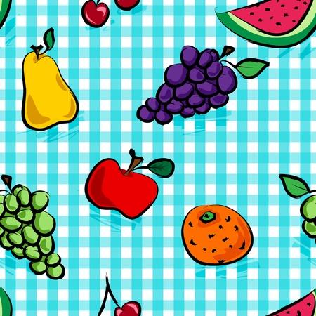 Een naadloze inzameling van grungy, ruw, ruwe schets de hand getekende vruchten met schaduwen over lichtblauw geruit patroon, perfecte picknick tafel doek.