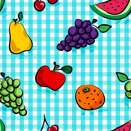 Seamless collection of grungy, crude, rough outline hand drawn fruits with shadows over light blue gingham pattern, perfect picnic table cloth. Vector