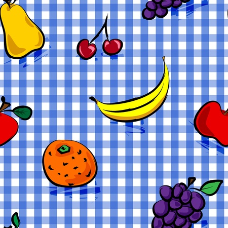 Seamless collection of grungy, crude, rough outline hand drawn fruits with shadows over blue gingham pattern, perfect picnic table cloth. Vector