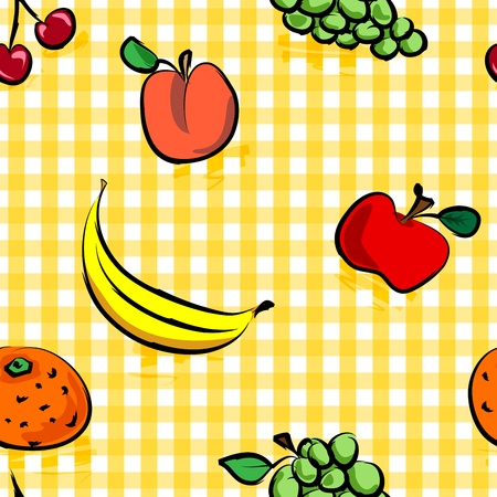 Seamless collection of grungy, crude, rough outline hand drawn fruits with shadows over yellow gingham pattern, perfect picnic table cloth. Vector
