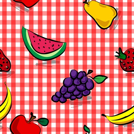 Fun collection of grungy, crude, rough outline hand drawn fruits with grey shadows over white background. Vector