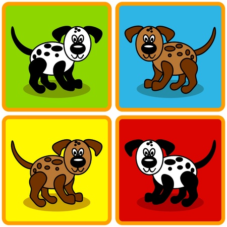 Seamless cute and fun cartoon dogs over colorful  squares perfect for kids or pet related articles. Vector