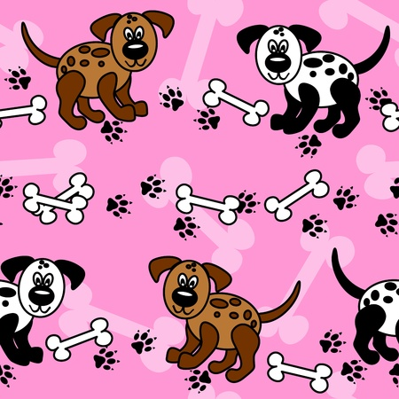 Cute and fun cartoon dogs with paw prints and bones over girly pink that can be used as borders or full wallpaper pattern, perfect for pet related articles. Vector