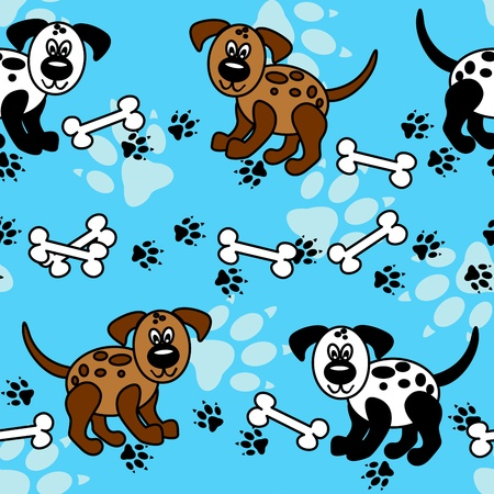 Cute and fun spotted cartoon dogs with paw prints and bones that can be used as borders or full wallpaper pattern, perfect for pet related articles. Vector