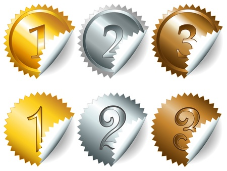 Gold, silver and bronze games related set of peeled rosette medal or label with related numbers in metalllic colors Vector