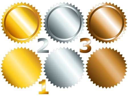 Gold, silver and bronze games related set of rosette medal or label with related numbers in metalllic colors Vector