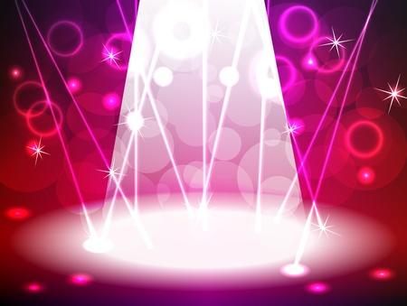 luz focal: Escenario iluminado de color rosa y rojo para la m�sica, concierto de rock, la danza o cualquier otro evento con unas brillantes luces, rayos l�ser, bokeh y otros efectos de ne�n, puede ser utilizado para la publicidad del producto.