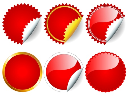 Fun collection of red stickers in different shapes, circle or rosette, with or without border, white, silver and gold, perfect for and retail. Vector