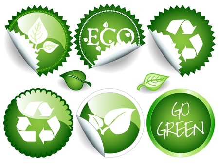 Fun collection of green stickers in different shapes, circle or rosette, some glossy, all with ecological or environmental message, recycling symbol, leaves and others.