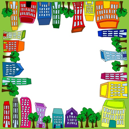 crooked: Seamless pattern of colorful crooked buildings on green grass background, fun cityscape wallpaper or background. Illustration