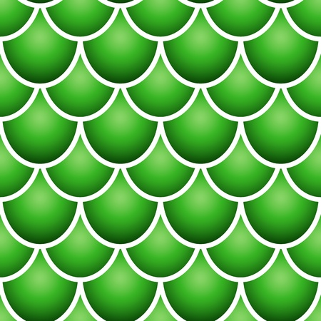 Seamless pattern of colurful green fish scale forming a pattern with white borders  Vector