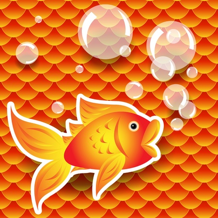 Seamless pattern of small colorful goldfish or koi fish scales forming a pattern repeat pattern, perfect good fortune wallpaper Vector