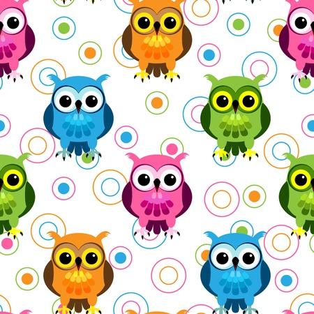 Naadloze: Naadloos patroon van leuke en leuke cartoon uilen in kleurige roze, blauw, groen en oranje met willekeurige cirkel patroon over wit.