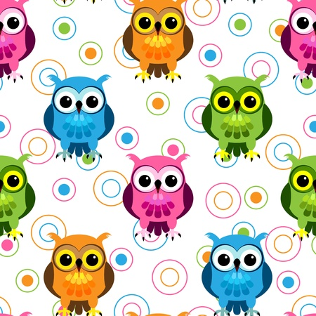Seamless pattern of cute and fun cartoon owls in colorful pink, blue, green and orange with random circle pattern over white. Illustration