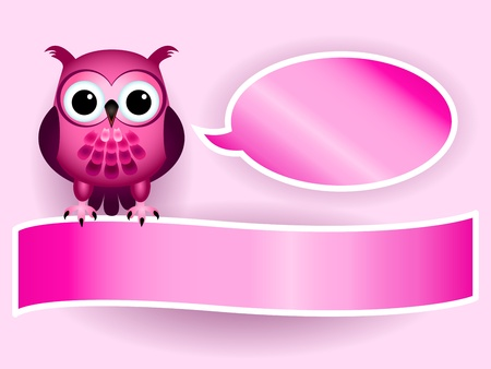 Beautiful pink cartoon owl with speech bubble and banner with drop shadows, perfect for a baby girl announcement card. Vectores