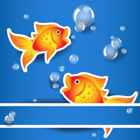 Cartoon goldfish label or sticker with white border with bubbles and shadows over water blue background and elevated paper band perfect card Stock Vector - 13563256