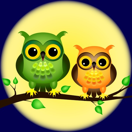 Pair of fun cartoon owls perched on branch on a night with full moon behind them. Vector