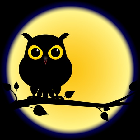 night owl: Dark shadow silhouette of an owl with yellow eyes, perched on branch on a night with full moon, perfect for halloween. Illustration
