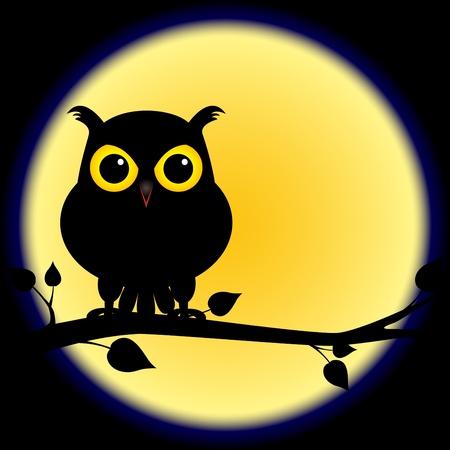 luna caricatura: Sombra de la silueta oscura de un b�ho con ojos amarillos, posado en rama en una noche con luna llena, perfecta para Halloween.