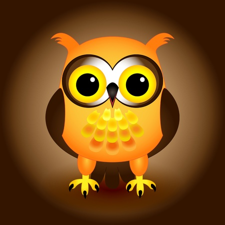 Cute and fun orange and brown cartoon owl character over gradient background with drop shadow.